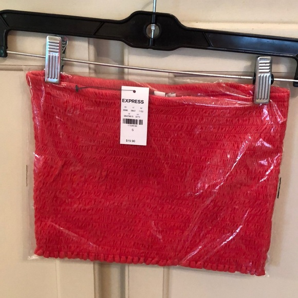 Express Tops - NWT Express Gathered Tube Top Size Small Orange